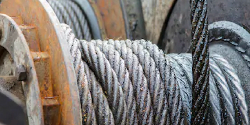 Wire rope cable on reel